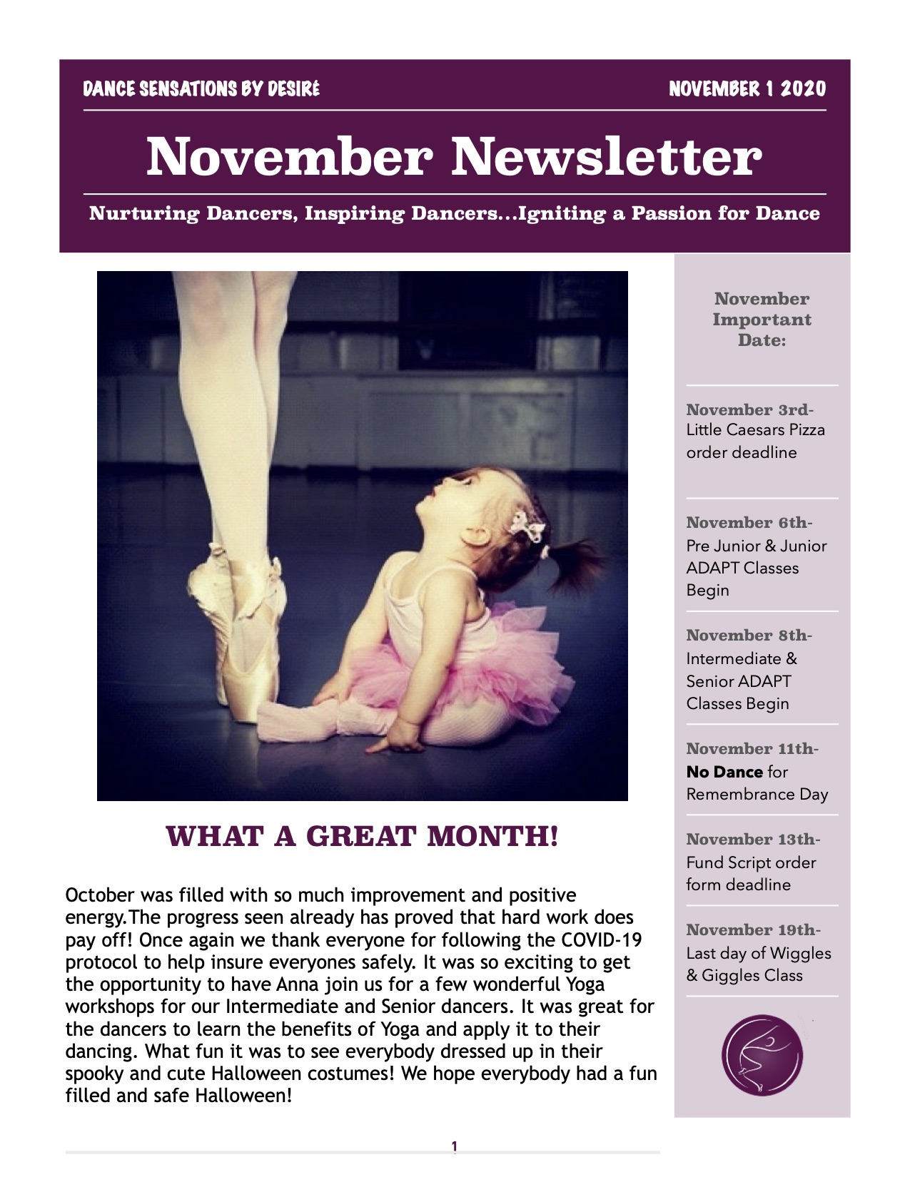 Novemeber Newsletter 2020 1